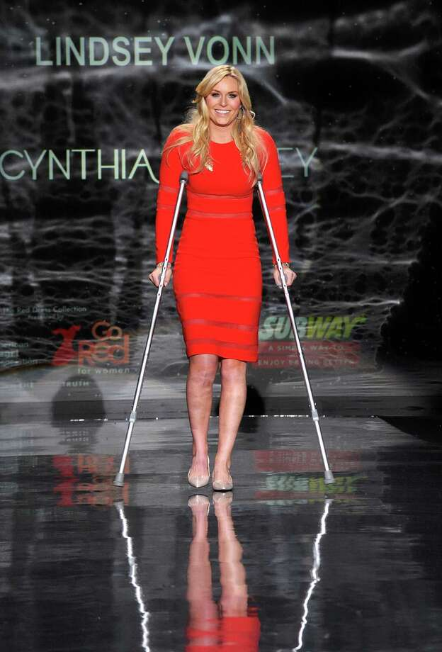 Lindsey Vonn works the runway Thursday during Fashion Week in New York.  Photo: Diane Bondareff, Associated Press / AP2014