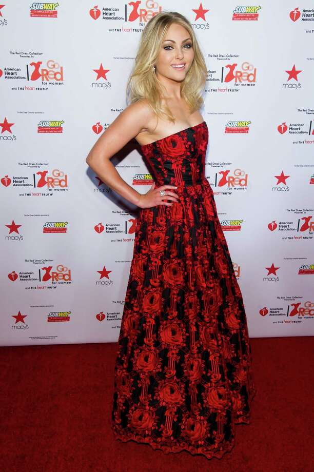 AnnaSophia Robb wearing Alice + Olivia attends the Heart Truth Red Dress Collection fashion show. Photo: Charles Sykes, Associated Press / AP2014