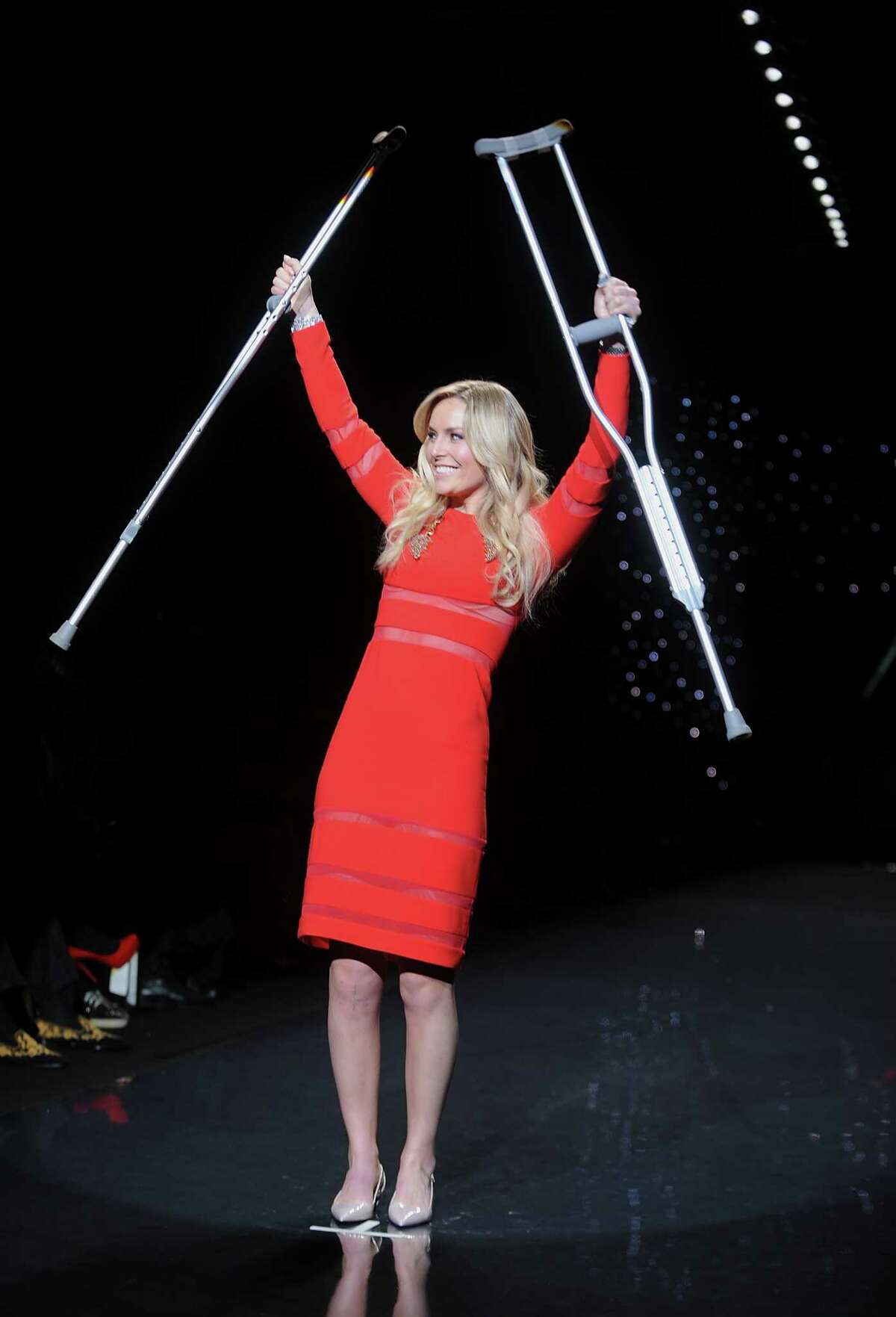 American World Cup alpine ski racer Lindsey Vonn walks the runway.