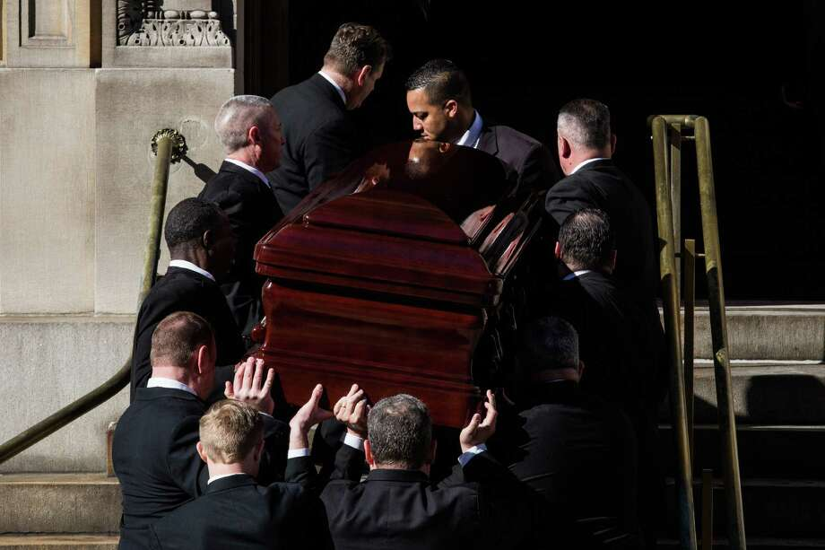 The casket carrying actor Philip Seymour Hoffman, who died of an alleged drug overdose on February 1, 2014, arrives at St. Ignatius of Loyola Catholic Church, for Hoffman's funeral service on February 7, 2014 in New York City. Hoffman was allegedly found dead in his bathroom with a needle in his arm. Photo: Andrew Burton, Getty Images / 2014 Getty Images