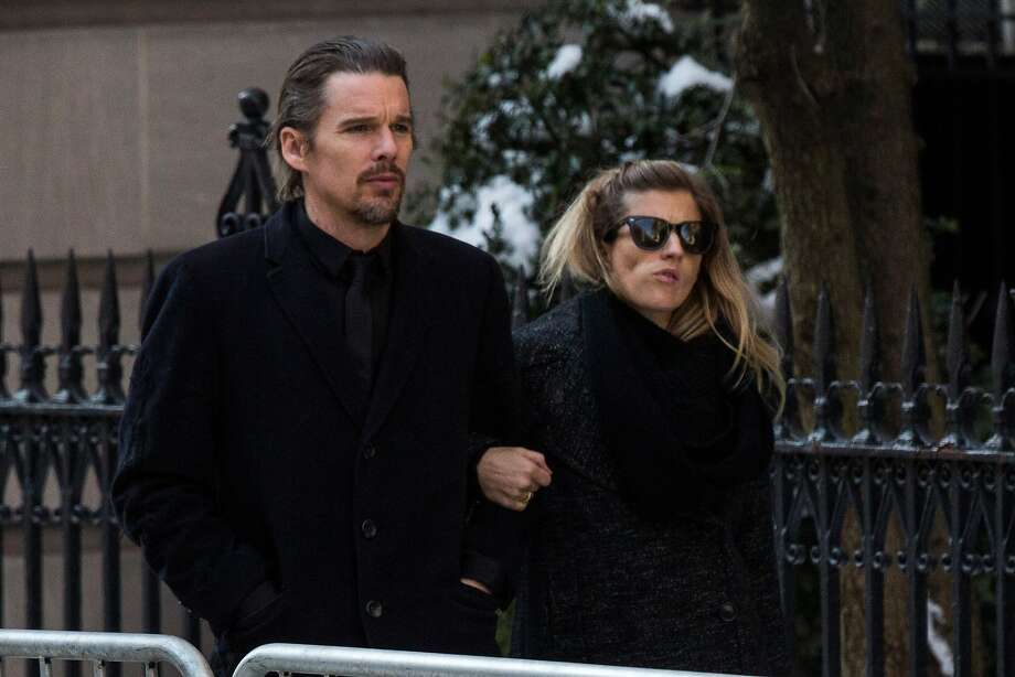 NEW YORK, NY - FEBRUARY 07:  Ethan Hawke (L) and Ryan Hawke attend the funeral service for actor Philip Seymour Hoffman who died of an alleged drug overdose on February 1, 2014 at St. Ignatius Of Loyola on February 7, 2014 in New York City.  Hoffman was allegedly found dead in his bathroom with a needle in his arm.  (Photo by Andrew Burton/Getty Images) Photo: Andrew Burton, Getty Images