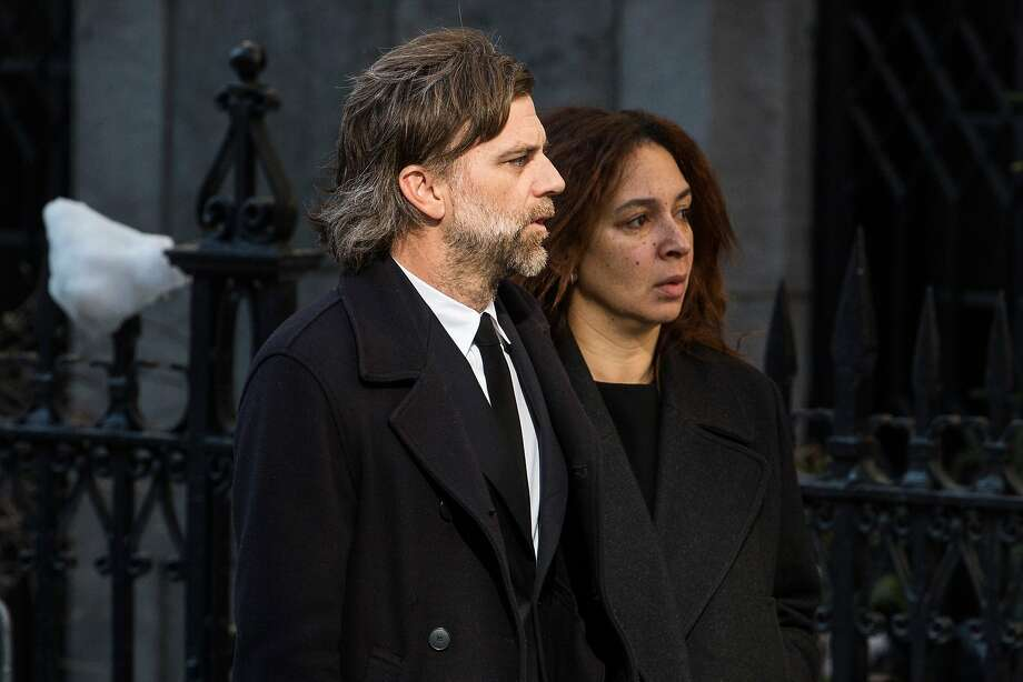 Paul Thomas Anderson (L) and Maya Rudolph attend the funeral service for actor Philip Seymour Hoffman who died of an alleged drug overdose on February 1, 2014 at St. Ignatius Of Loyola on February 7, 2014 in New York City.  Hoffman was allegedly found dead in his bathroom with a needle in his arm.  Photo: Andrew Burton, Getty Images