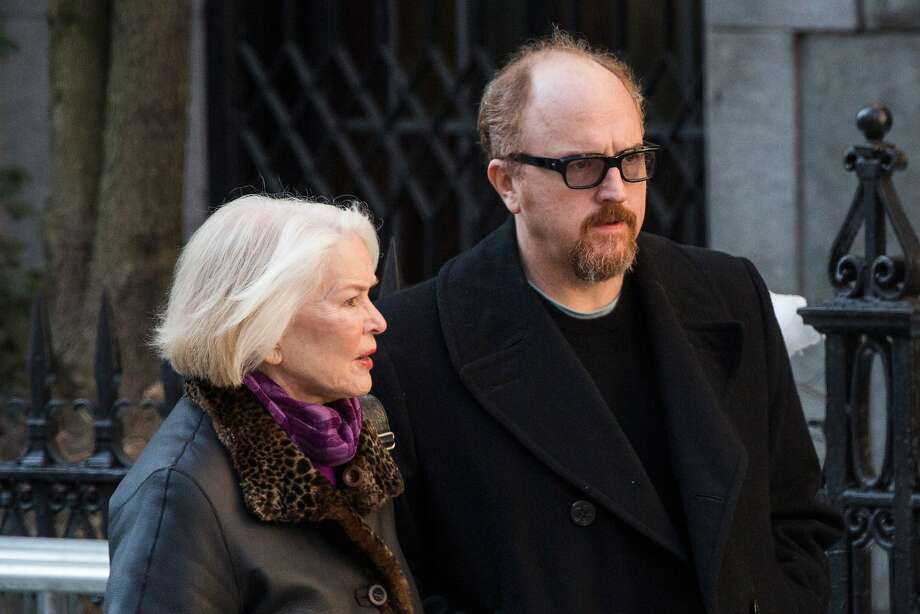 Ellen Burstyn (L) and Louis C.K. attend the funeral service for actor Philip Seymour Hoffman who died of an alleged drug overdose on February 1, 2014 at St. Ignatius Of Loyola on February 7, 2014 in New York City.  Hoffman was allegedly found dead in his bathroom with a needle in his arm.  Photo: Andrew Burton, Getty Images