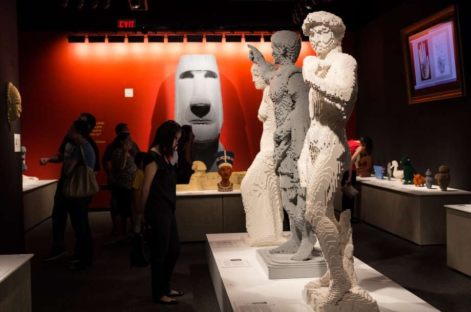 "Pieces from Nathan Sawaya's ""The Art of the Brick,"" which features sculptures and artwork made of LEGOs. It's on view in New York City."