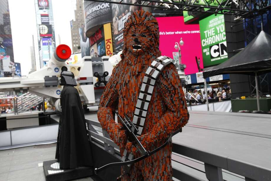 Lego sculptures of Star Wars characters are seen after the unveiling of the world's largest Lego model in New York City's Times Square, Thursday May 23, 2013.