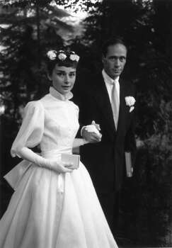 Film star couple Audrey Hepburn (1929 - 1993) and Mel Ferrer on their wedding day in 1954. Photo: Ernst Haas, Getty Images