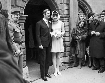 Audrey Hepburn (1929-1993) and her new husband Andrea Dotti leave the Town Hall after the civil ceremony at Moreges, 1969. Photo: Getty Images