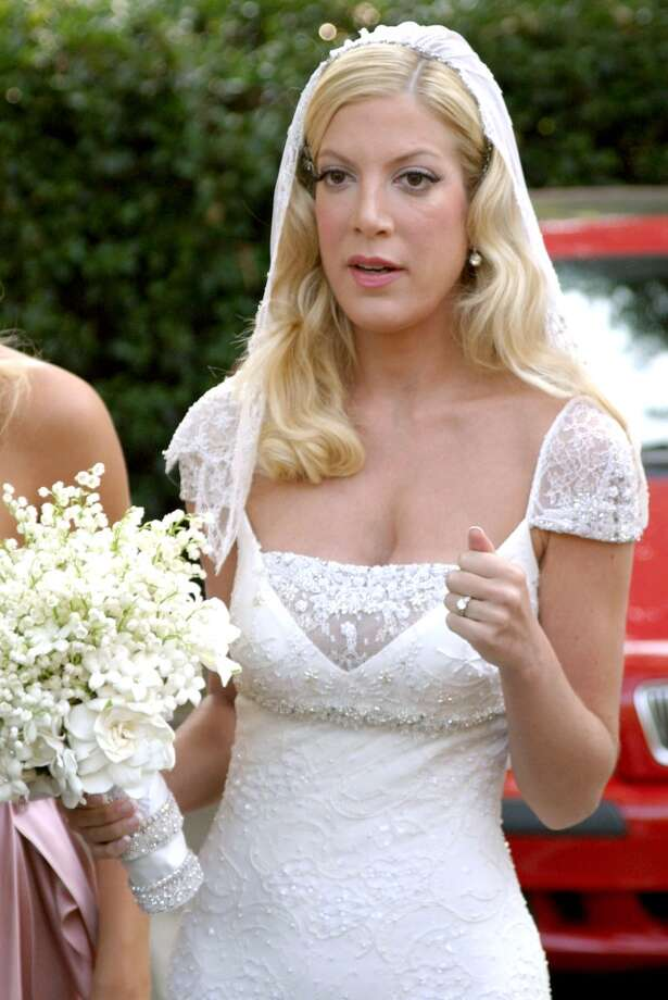 Tori Spelling on her wedding day in 2004. Photo: Jonathan Alcorn, WireImage