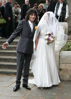 Ronnie Wood escorts daughter Leah Wood to her wedding at Southwark Cathedral on June 21, 2008 in London, England. Photo: Fred Duval, WireImage