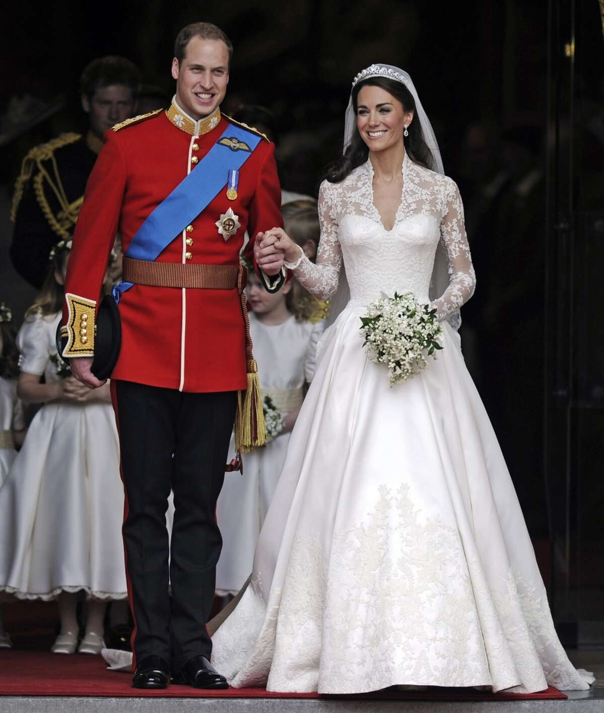 Britain's Prince William and his bride Kate, Duchess of Cambridge, leave Westminster Abbey, London, following their wedding in 2011.