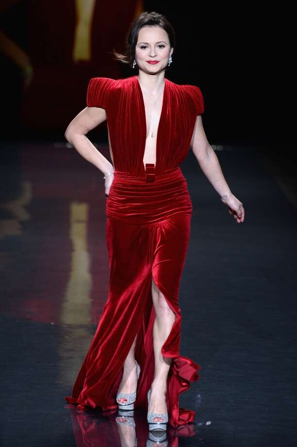 Sasha Cohen walks the runway wearing Marc Bouwer at Go Red For Women - The Heart Truth Red Dress Collection 2014 Show Made Possible By Macy's And SUBWAY Restaurants  at The Theatre at Lincoln Center on February 6, 2014 in New York City.  (Photo by Frazer Harrison/Getty Images for Mercedes-Benz) Photo: Frazer Harrison, Getty Images For Mercedes-Benz