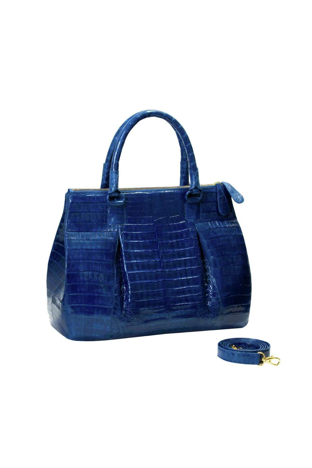 Through Feb. 20, Neiman Marcus is offering a customization program for the first time on Nancy Gonzalez handbags. Here the Plisse Tote, $3,800, is shown.