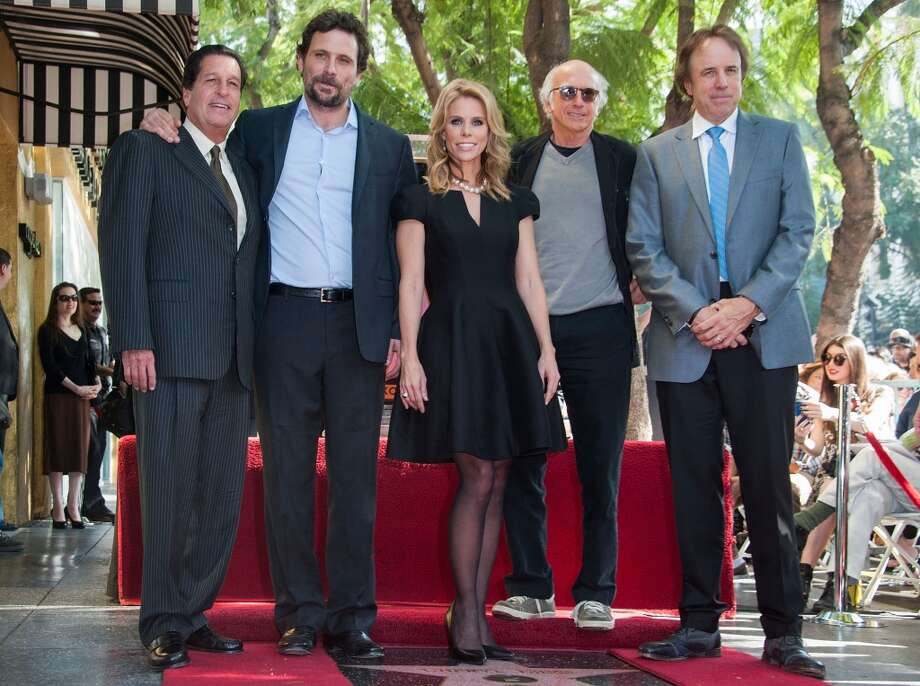 Chris Parnell, Jeremy Sisto, Cheryl Hines, Larry David and Kevin Nealon attend the ceremony Honoring Cheryl Hines on the Hollywood Walk of Fame on Jan. 29, 2014 in Hollywood, Calif. Nealon, who grew up in Bridgeport, Conn., will be in the area performing stand-up this weekend.  (Photo by Valerie Macon/Getty Images) Photo: Valerie Macon, Getty Images