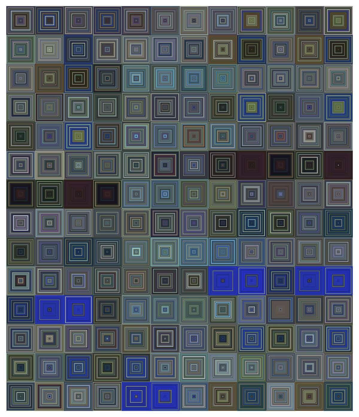 "Jason Salavon's ""One Week Skin (CNN-Sq),"" is on view in ""The Top 100,000,000"" at Inman Gallery through Feb. 28."