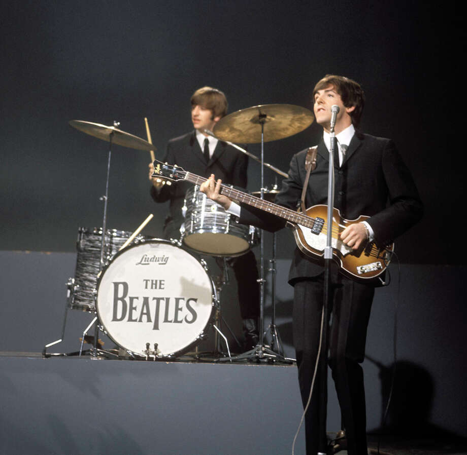 Ringo Starr (playing Ludwig drum kit, drums) & Paul McCartney (playing Hofner 500/1 'violin' bass guitar) performing at the Granville Studio on 'Shindig' set,  (Photo by David Redfern/Redferns) Photo: David Redfern, Redferns / Redferns