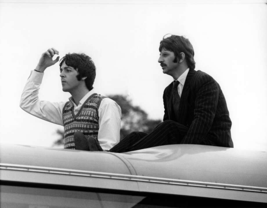 Paul McCartney and Ringo Starr on top of the Magical Mystery Tour coach,  (Photo by David Redfern/Redferns) Photo: David Redfern, Redferns / Redferns