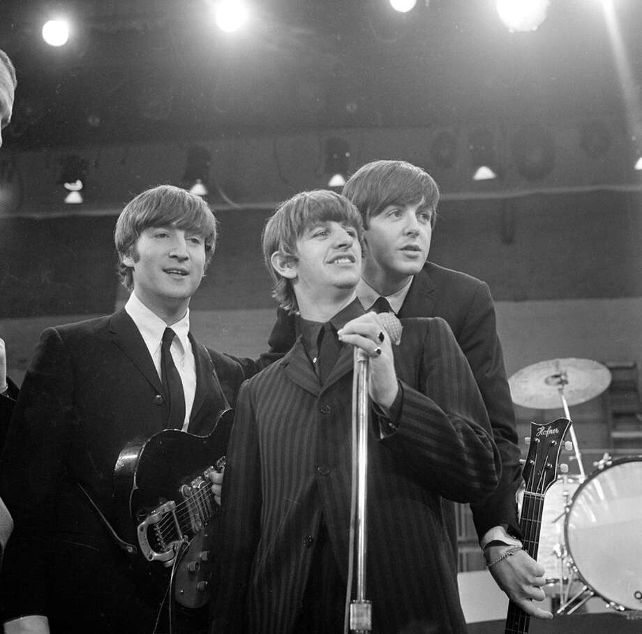 The Beatles at rehearsal the day before their first appearance on THE ED SULLIVAN SHOW. From left: John Lennon, Ringo Starr, Paul McCartney. Image dated February 8, 1964. (Photo by CBS via Getty Images) Photo: CBS Photo Archive, CBS Via Getty Images / 1964 CBS Photo Archive