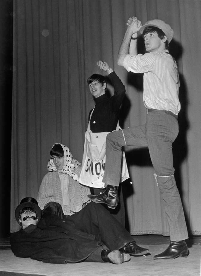 The Beatles dress up for the Beatles Christmas Show, at the Astoria Cinema, Finsbury Park, London, New Years Eve 1963. (Photo by Evening Standard/Hulton Archive/Getty Images) Photo: Evening Standard, Getty Images / 2005 Getty Images