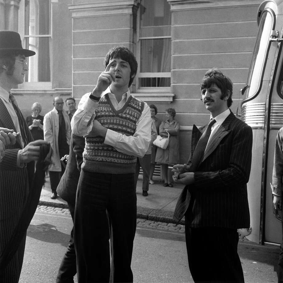 AL MYSTERY TOUR; John Lennon, Paul McCartney, Ringo Starr and George Harrison outside the Atlantic Hotel in Newquay during filming of Magical Mystery tour. David Redfern Premium Collection  (Photo by David Redfern/Redferns) Photo: David Redfern, Redferns / Redferns