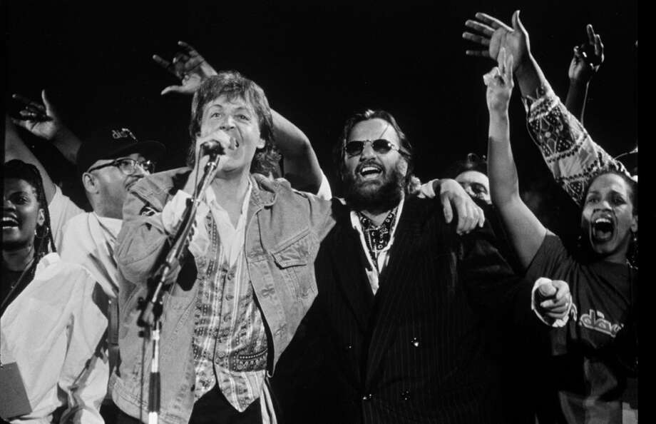 Paul McCartney and Ringo Starr at the 'Sound Action' Earth Day Concert, April 16, 1993.   (Photo by Time & Life Pictures/Getty Images) Photo: Time & Life Pictures, Time Life Pictures/Getty Images