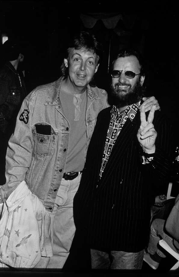 Paul McCartney and Ringo Starr at the 'Sound Action' Earth Day Concert, April 16, 1993.   (Photo by Time & Life Pictures/Getty Images) Photo: Time & Life Pictures, Time Life Pictures/Getty Images / Time & Life Pictures