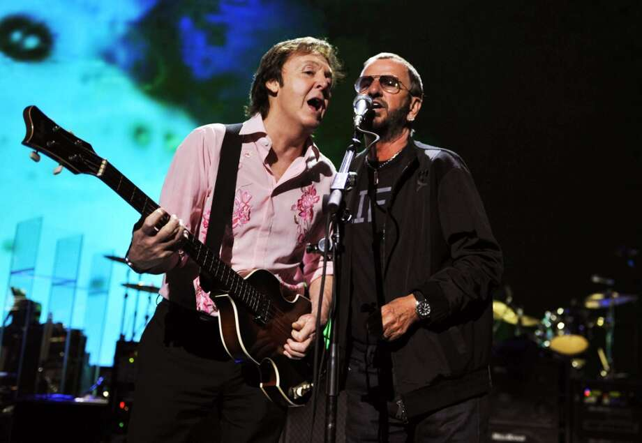 "Paul McCartney and Ringo Starr perform during rehearsals for the David Lynch Foundation ""Change Begins Within"" concert held at the Radio City Music Hall on April 4, 2009 in New York City. (Photo by Kevin Mazur/MPL/WireImage for MPL) Photo: Kevin Mazur/MPL"