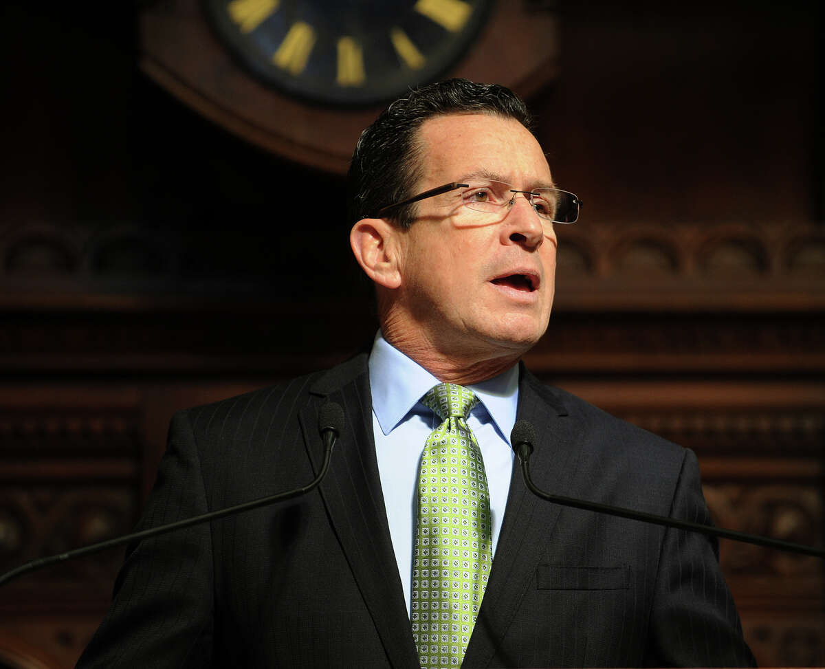 Governor Dannel P. Malloy delivers his budget address to a joint convention of the legislature at the Capitol in Harford, Conn. on Thursday, February 6, 2014.