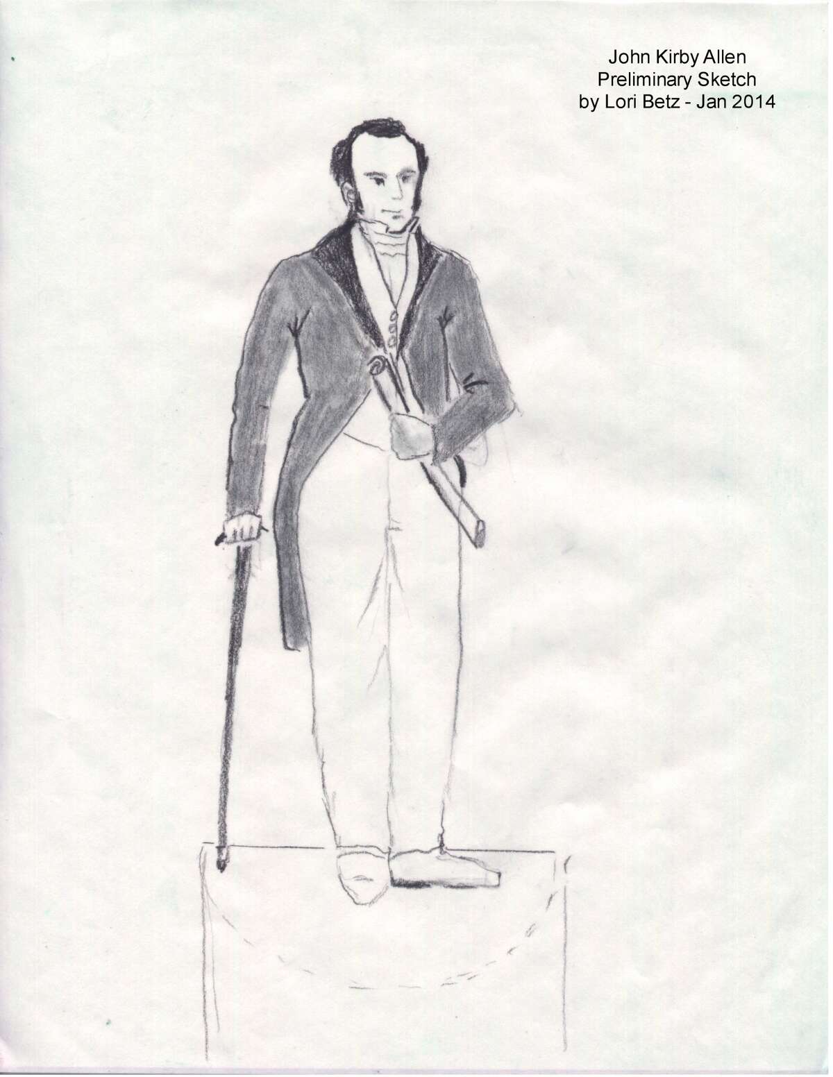 Sketches of the proposed statues of the Allen brothers (The Texas Star Chapter of the Daughters of the Republic of Texas)