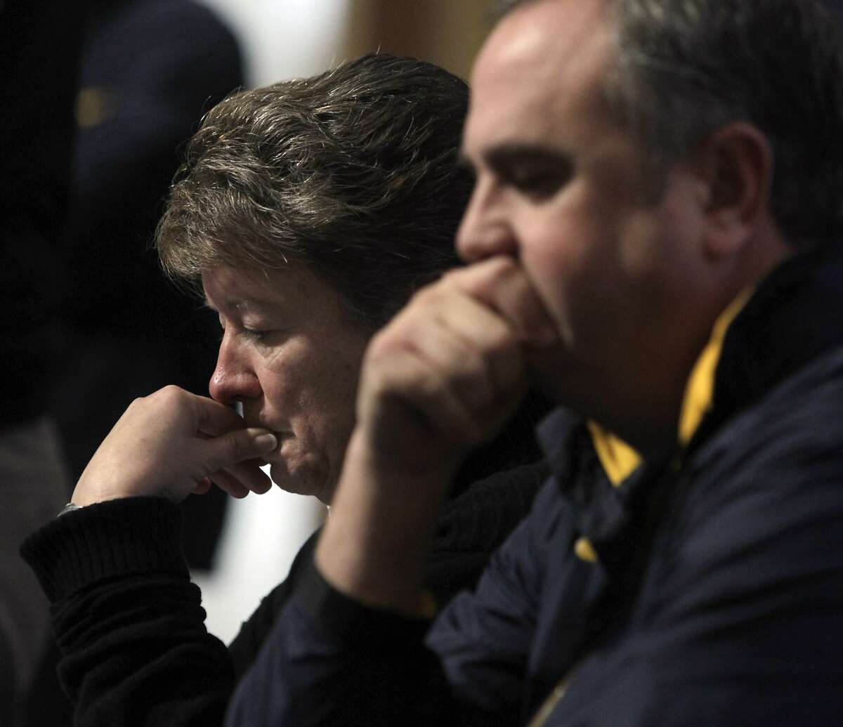 Cal athletic director Sandy Barbour and head football coach Sonny Dykes speak at a news conference to address the death of Cal Bears football defensive end Ted Agu during a team workout this morning in Berkeley, Calif. on Friday, Feb. 7, 2014.