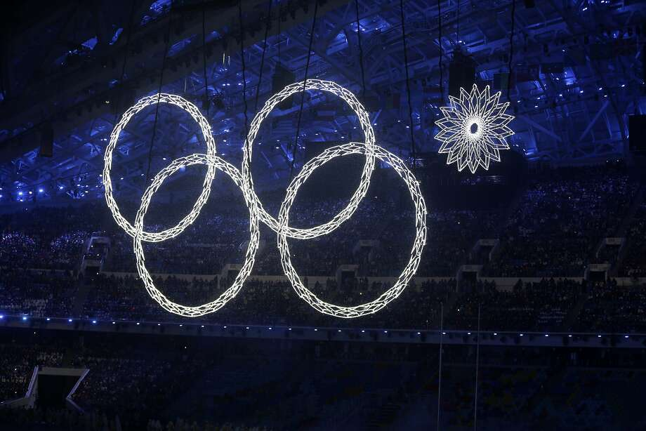 One of the rings forming the Olympic Rings fails to open during the opening ceremony of the 2014 Winter Olympics in Sochi, Russia, Friday, Feb. 7, 2014. (AP Photo/Mark Baker) Photo: Mark Baker, Associated Press