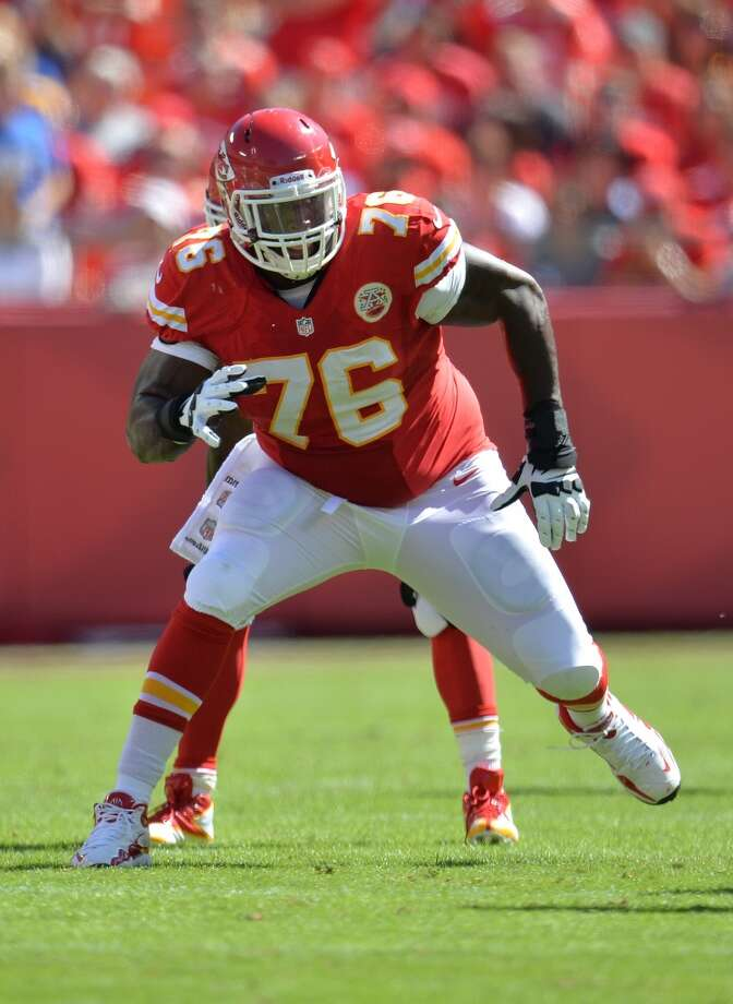 Branden Albert, LT, Kansas City Chiefs 2013 stats: Albert was part of an offensive line that paved the way for running backs to rack up 2,056 yards, 17 TDs at a 4.7 yards per carry clip. They gave up 41 sacks on the season. Photo: Peter G. Aiken, Getty Images