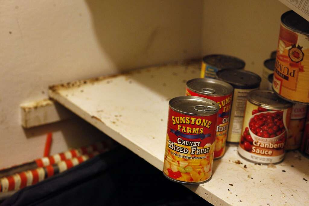 Geneva Eaton's pantry is covered with mice dropping throughout the can goods. Photo: Lacy Atkins, The Chronicle