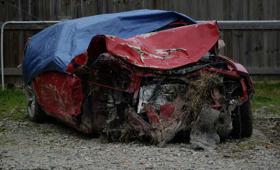 The Camaro that Crystal Boyett's was said to be driving in Monday's wreck in Lumberton.  Photo taken Friday, February 07, 2014 Guiseppe Barranco/@spotnewsshooter Photo: Guiseppe Barranco, Photo Editor