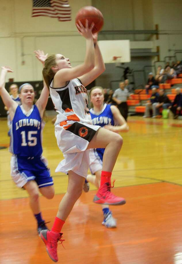 Stamford's Maxine Fodiman takes a shot during Friday's basketball game at Stamford High School on February 7, 2014. Photo: Lindsay Perry / Stamford Advocate