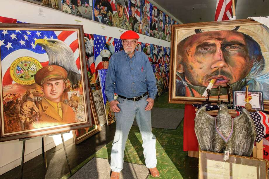 Baytown artist Ken Pridgeon has finished 140 portraits of slain Texas military servicemembers - and has 440 to go. Photo: ÂKim Christensen, Photographer / ©Kim Christensen