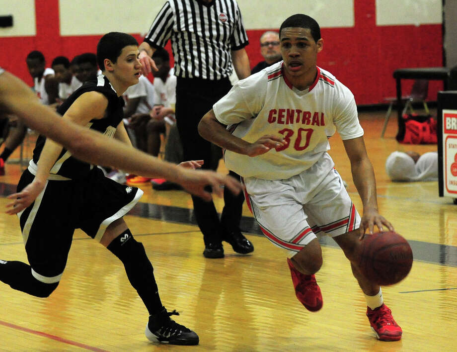Central's Marcus Blackwell, during boys basketball action against Trumbull in Bridgeport, Conn. on Friday February 7, 2014. Photo: Christian Abraham / Connecticut Post