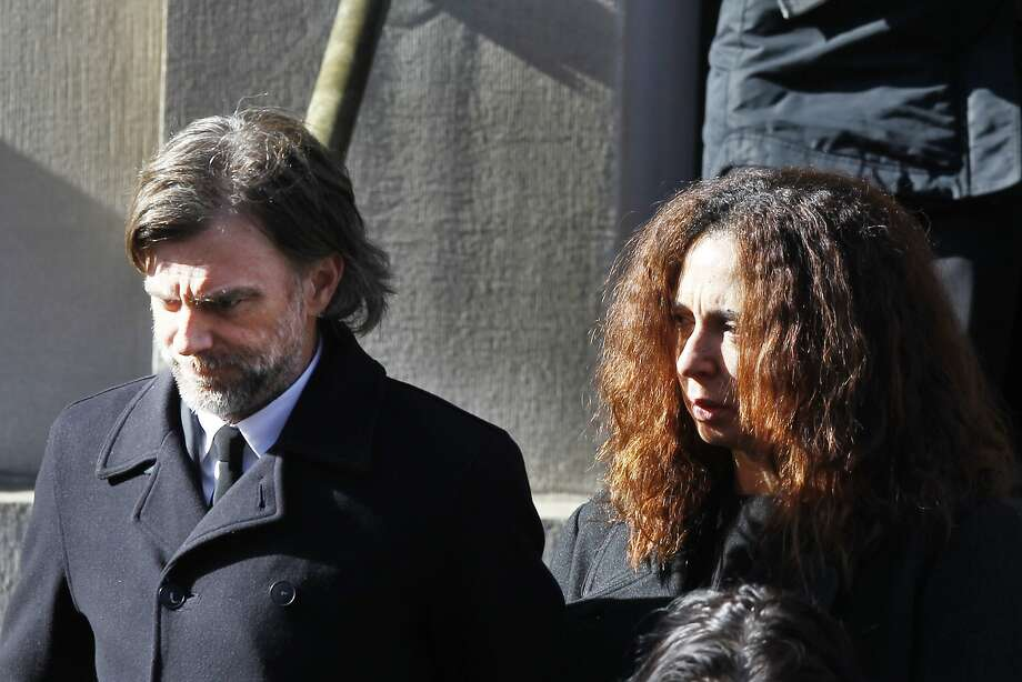 Director Paul Thomas Anderson and actress Maya Rudolph leave the funeral of actor Philip Seymour Hoffman Friday, Feb. 7, 2014, in New York.  Hoffman, 46, was found dead Sunday in his Greenwich Village apartment of an apparent heroin overdose. (AP Photo/Jason DeCrow) Photo: Jason DeCrow, Associated Press