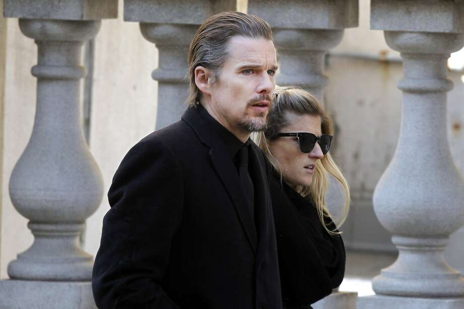 Actor Ethan Hawke arrives for the funeral of actor Philip Seymour Hoffman Friday, Feb. 7, 2014, in New York.  Hoffman, 46, was found dead Sunday in his Greenwich Village apartment of an apparent heroin overdose. (AP Photo/Jason DeCrow) Photo: Jason DeCrow, Associated Press