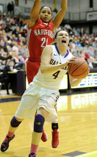 UAlbany's Sarah Royals attempts a shot in first-half action in UAlbany's easy victory over Hartford