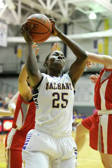 UAlbany's Shereesha Richards pulls down a rebound in UAlbany's easy victory over Hartford on Friday,