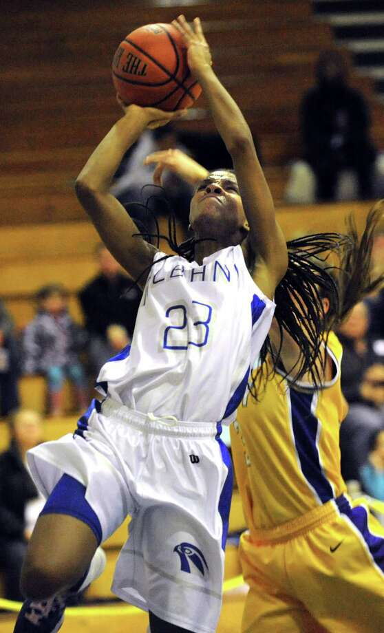 Albany's Mylah Chandler shoots for the hoop during their basketball game against Troy on Friday, Feb. 7, 2014, at Albany High in Albany, N.Y.  (Cindy Schultz / Times Union) Photo: Cindy Schultz / 00025676A