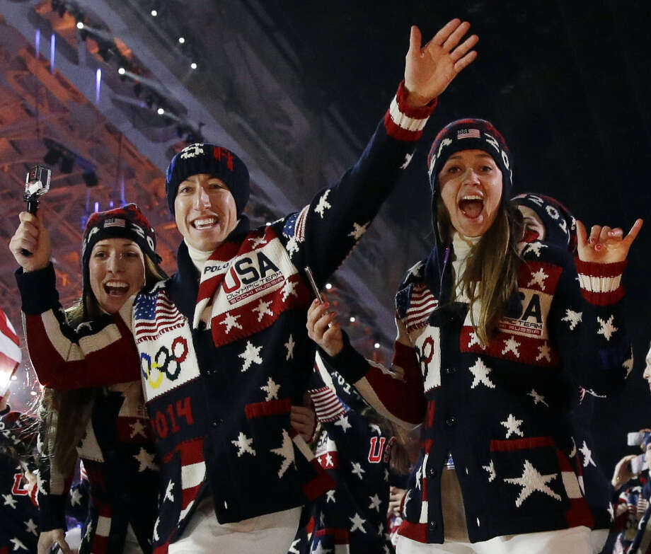 The United States Olympic team arrives during the opening ceremony of the 2014 Winter Olympics on Friday in Sochi, Russia. The U.S. will have 230 athletes competing. Photo: Patrick Semansky / Associated Press / AP