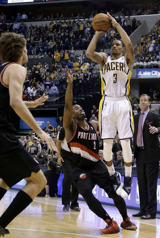 George Hill's trey late in the fourth quarter enabled Indiana to tie Portland. The Pacers won in OT. Photo: Michael Conroy, Associated Press