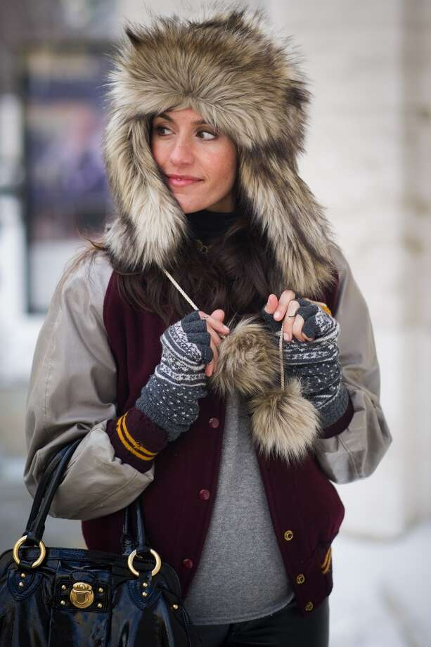 Christine Bibbo Herr is seen wearing a vintage jacket, pants from 7 for all Mankind, a hat from Juicy Couture and hunter shoes in Manhattan on February 6, 2014 in New York City. (Photo by Timur Emek/Getty Images) Photo: Timur Emek, Getty Images