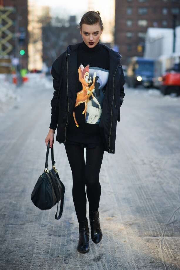 Model Montana Cox is wearing a sweater from Givenchy on the streets of Manhattan on February 7, 2014 in New York City.  (Photo by Timur Emek/Getty Images) Photo: Timur Emek, Getty Images