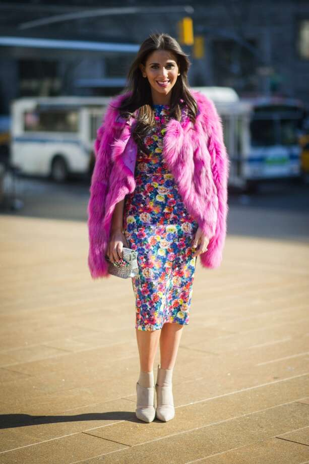 Elizabeth Savetsky is wearing a fur from Kappy a dress from Zara and shoes from Gianvito Rossi on the streets of Manhattan on February 7, 2014 in New York City.  (Photo by Timur Emek/Getty Images) Photo: Timur Emek, Getty Images