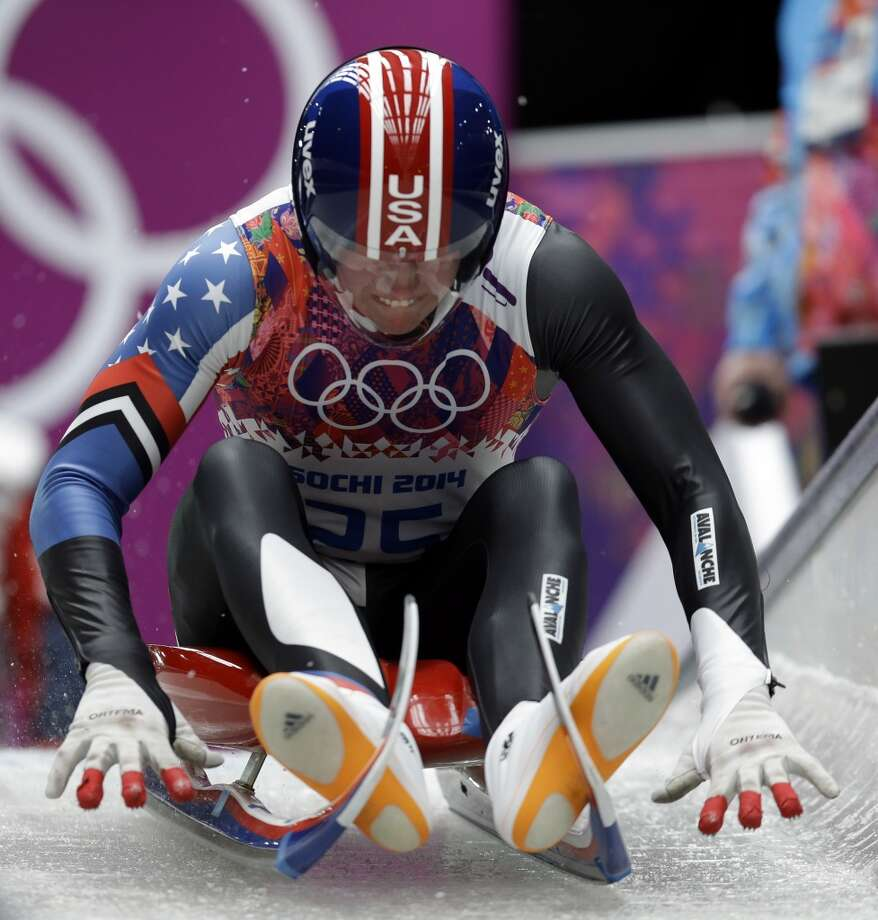 Tucker West of the United States competes during the men's singles luge competition at the 2014 Winter Olympics, Saturday, Feb. 8, 2014, in Krasnaya Polyana, Russia. (AP Photo/Natacha Pisarenko) Photo: Natacha Pisarenko, Associated Press