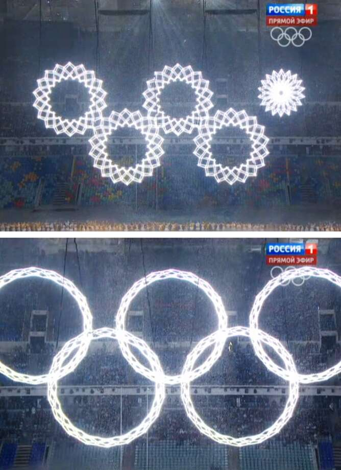 In a combo of frame grabs taken from Russian television, five snowflakes float together in Fisht Stadium during the opening ceremony of the 2014 Winter Olympics in Sochi, Russia, Friday, Feb. 7, 2014. During the live ceremony, the fifth ring failed to fully open to create the Olympics rings. On Russian television, producers inserted footage from a dress rehearsal when all five rings joined together and erupted in pyrotechnics.(AP Photo) Photo: Associated Press