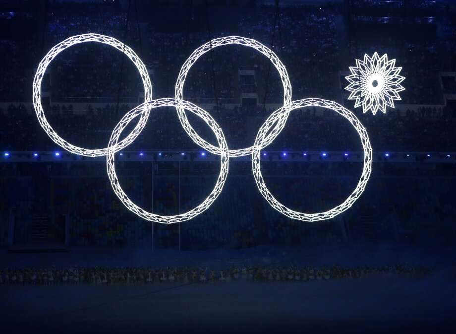 One of the rings forming the Olympic Rings fails to open during the opening ceremony of the 2014 Winter Olympics in Sochi, Russia, Friday, Feb. 7, 2014. (AP Photo/Robert F. Bukaty) Photo: Robert F. Bukaty, Associated Press
