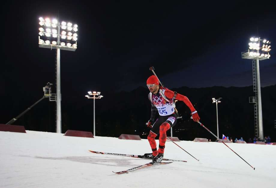 SOCHI, RUSSIA - FEBRUARY 08: Jean-Philippe le Guellec of Canada competes in the Men's Sprint 10 km during day one of the Sochi 2014 Winter Olympics at Laura Cross-country Ski & Biathlon Center on February 8, 2014 in Sochi, Russia.  (Photo by Richard Heathcote/Getty Images) Photo: Richard Heathcote, Getty Images